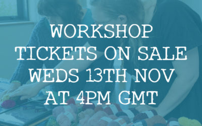 Workshop Tickets go on sale Weds 13th November at 4pm GMT